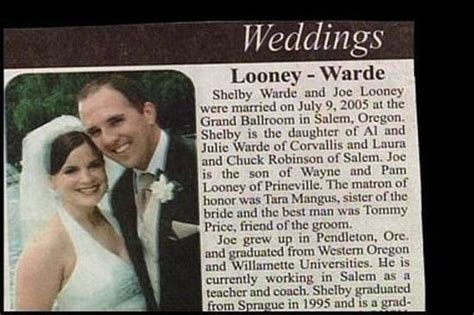 Funny Wedding Announcements In The Newspaper