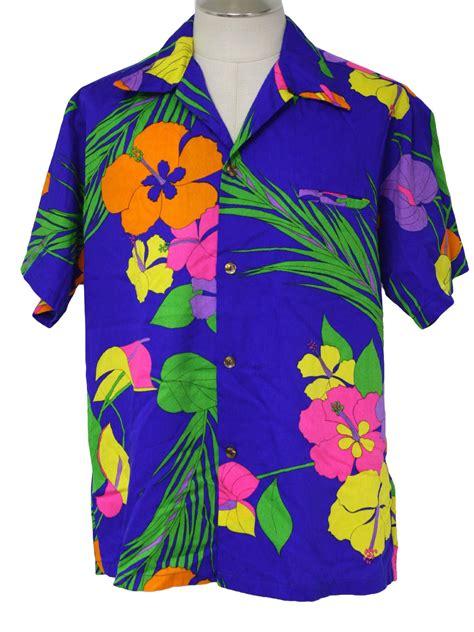 retro hawaiian shirt  walta clarkes mens blue
