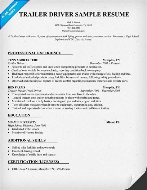 doc 8001035 cdl truck driver resume sle resume