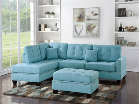 F6505 Sectional Sofa In Light Blue Fabric By Boss W Ottoman