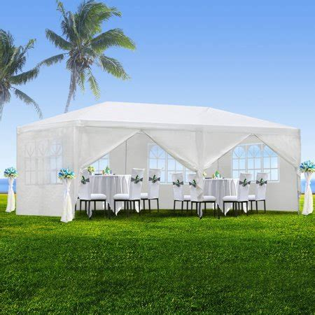 zeny  outdoor canopy party wedding tent white gazebo pavilion  side walls walmartcom