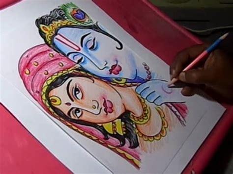 draw lord krishna  radha drawing youtube