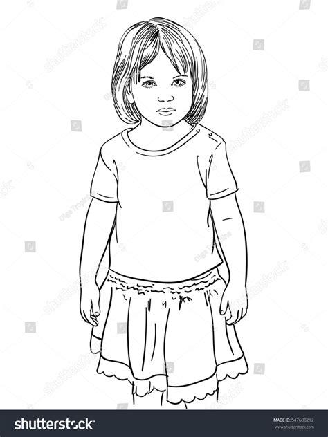 sketch  girl skirt standing  stock vector