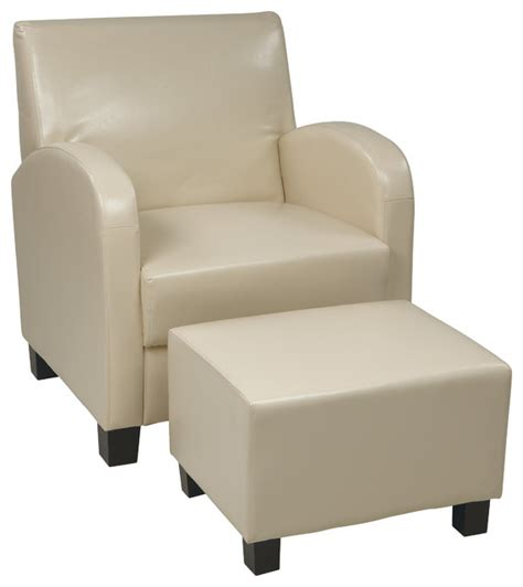 faux leather club chair with ottoman transitional
