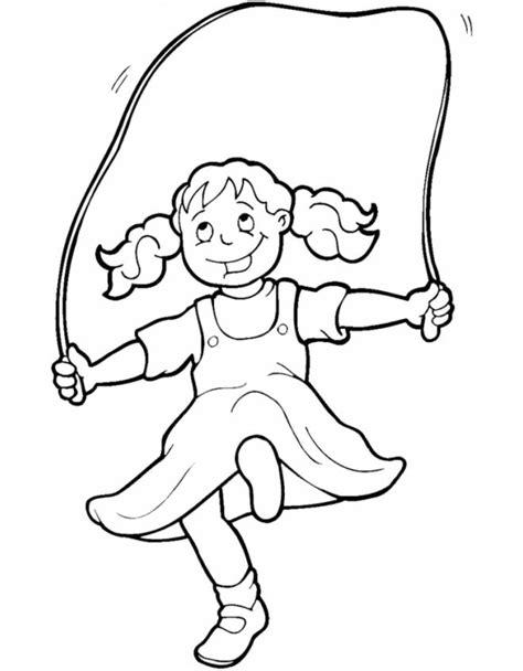 bambini gioco disegno sta disegno di bambina che gioca con corda da colorare