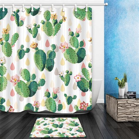 Cactus Shower Curtain - cactus flower shower curtain bathroom waterproof polyester