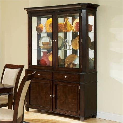 Silver China Cabinet by Steve Silver Company Marseille Buffet And Hutch In Merlot
