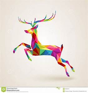 christmas-deer-multicolor-origami-merry-color-abstract ...