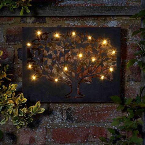outdoor wall garden metal tree solar hanging decoration 12 led lights gift ebay