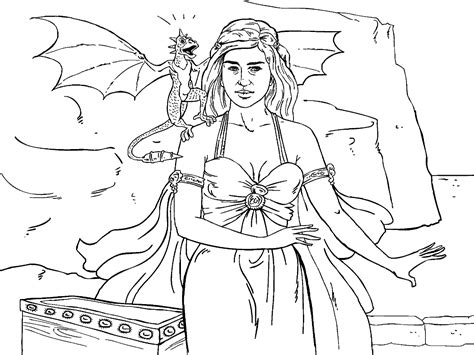 game  thrones colouring  page danaerys coloring