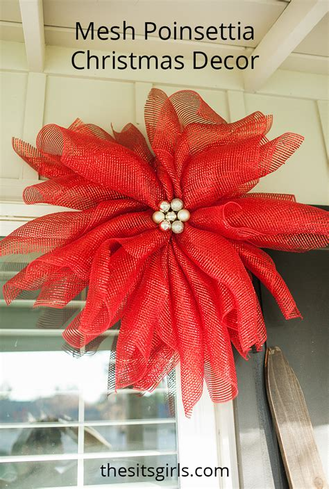 how to make a christmas yard poinsettia lighted mesh poinsettias decor outdoor decorations