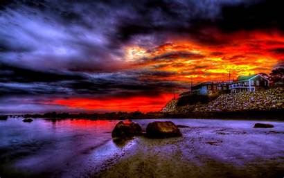 Sky Skies Wallpapers Stormy Sunset Nature Desktop