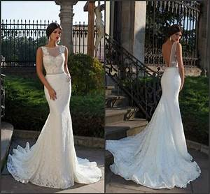 bride fish tail wedding dress elegant lace mermaid wedding With mermaid backless wedding dress