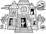 Houses Drawing Haunted Coloring Getdrawings Sheet sketch template
