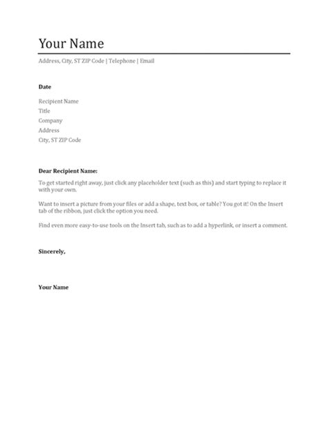 simple cover letter office templates