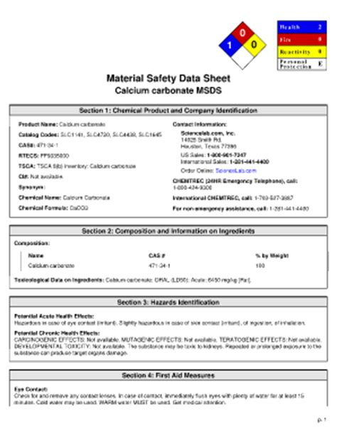 fillable dept harpercollege material safety data sheet calcium carbonate msds dept