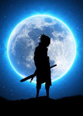 sasuke uchiha blue moon anime manga poster print metal