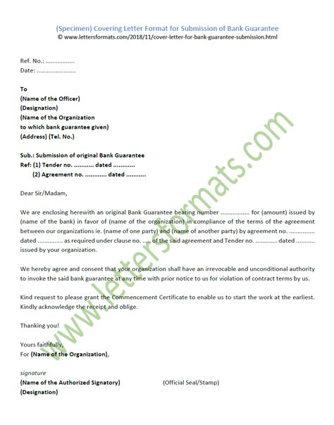 covering letter format  submission  bank guarantee