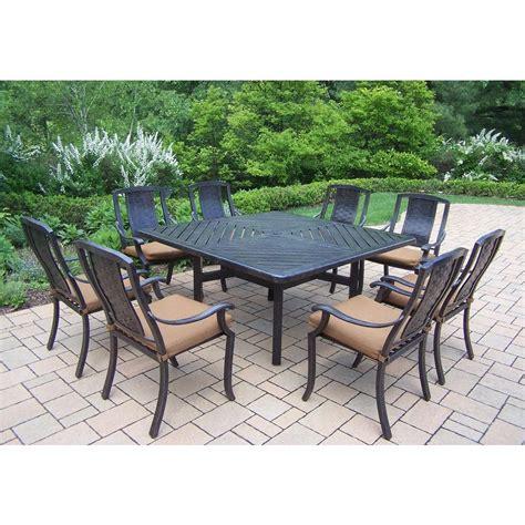 oakland living 9 square aluminum patio dining set