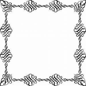 Free Clipart of a Black and White square Invitation Border