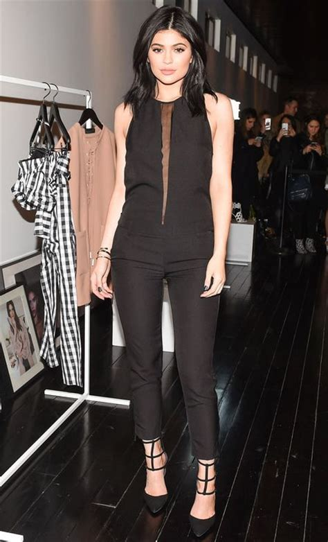 kendall jenner black jumpsuit jenner in a black kendall jumpsuit with