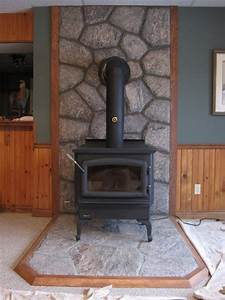 Regency wood burning stove with 5 point granite hearth and for Wood stove backsplash