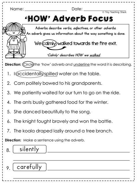 adverbs worksheets  grade