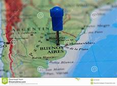Map With Pin In Of Buenos Aires, Argentina Stock Photo
