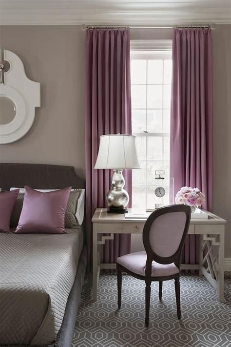 gray  purple bedroom features walls painted warm gray