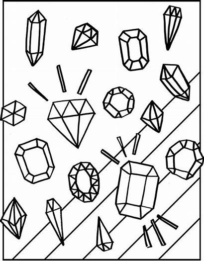 Coloring Diamond Pages Gemstones Clipart Rock Adult