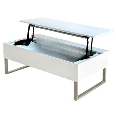 table basse avec plateau relevable laqu 233 blanc