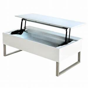 Table Basse Avec Plateau Relevable : table basse avec plateau relevable laqu blanc ~ Teatrodelosmanantiales.com Idées de Décoration