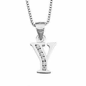 sterling silver letter y initial pendant necklace evermarker With letter y necklace