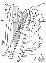 Harp Coloring Celtic Pages Playing Printable David Celts Angels Irish Harpe Harfe Celtique Ausmalbild Play Supercoloring Mandala Adult St Symbols sketch template