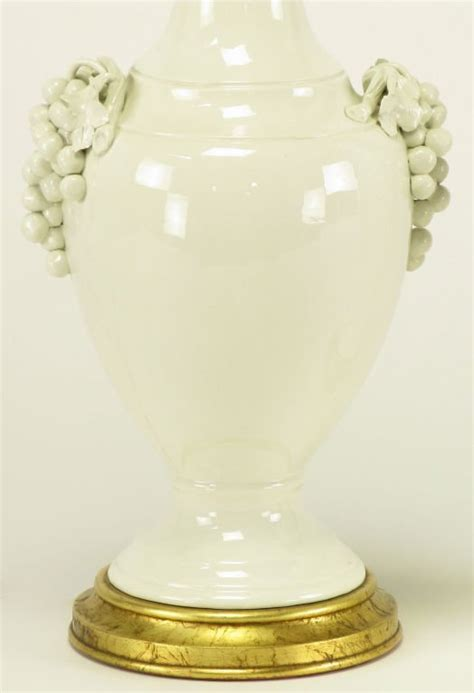 Frederick Cooper Ceramic Table Lamps by Pair Frederick Cooper White Ceramic Grape Cluster Table