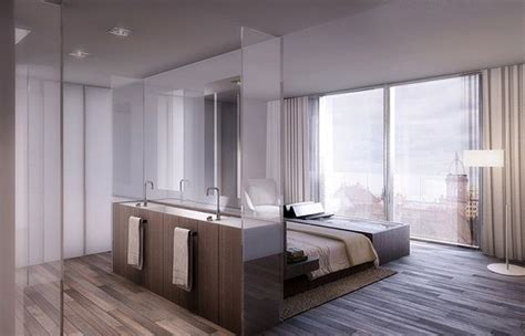 Modern Bathroom And Bedroom by Modern Apartment Interiors Bedroom Bathroom Open Plan