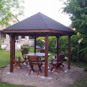 Pavillon altane carport vom pflastern bis auf aufbauu in for Pavillon für terrasse