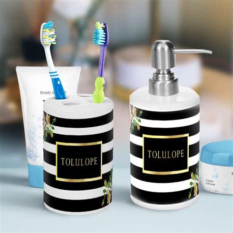 elegant floral black  white striped bathroom
