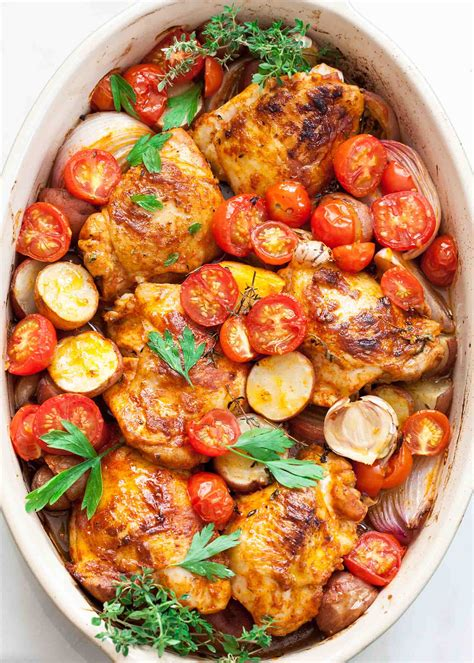 one pan recipes one pan paprika chicken with potatoes and tomatoes recipe simplyrecipes com