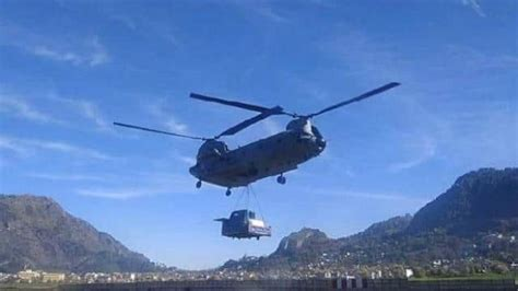 bro using Helicopters to land heavy equipment for road ...