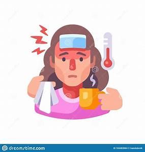 Symptoms Of Infectious Mononucleosis Disease  Cartoon