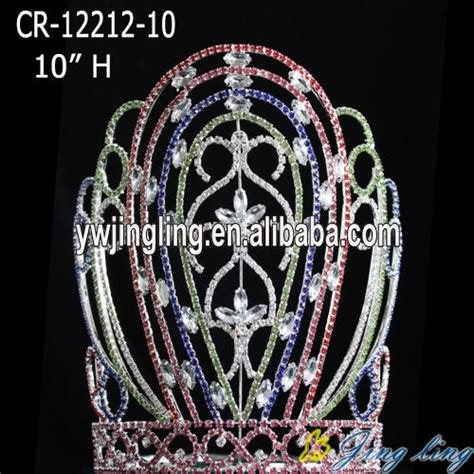 Colored Large Tiara Patriotic Pageant Crown, China Colored