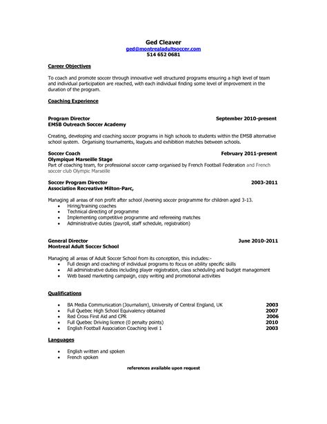 College Basketball Player Resume Sle by Usa Soccer Coaching Resume Sales Coach Lewesmr
