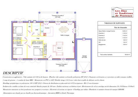 plan maison plain pied 3 chambres 100m2 constructeur les et traditions de provence présente sa