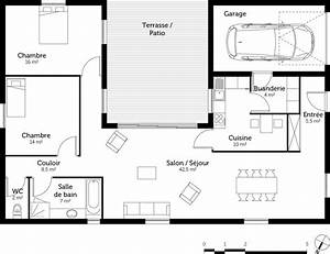 plan maison en u avec 2 chambres ooreka With plan maison en u ouvert 3 plan maison gratuit plain pied 3 chambres maison tage