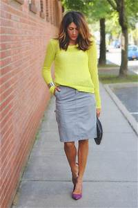 Yellow Neon Sweaters Heather Gray DKNY Skirts Purple