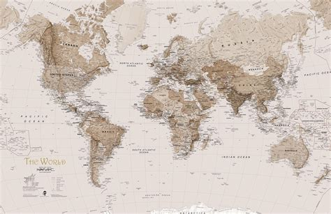 Kitchen And Living Room Ideas - earth tone world map mural wallpaper murals wallpaper