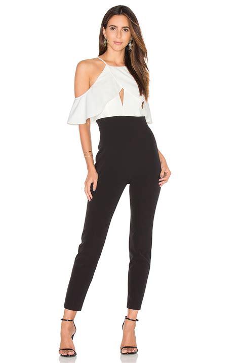 white and black jumpsuit bardot marlee jumpsuit in black white revolve