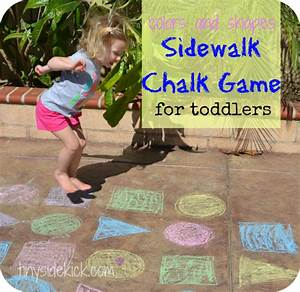 Colors and Shapes Sidewalk Chalk Game for Toddlers