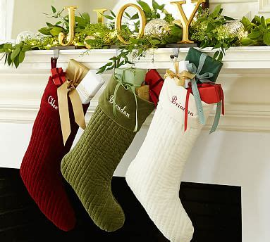 channel quilted velvet stocking pottery barn